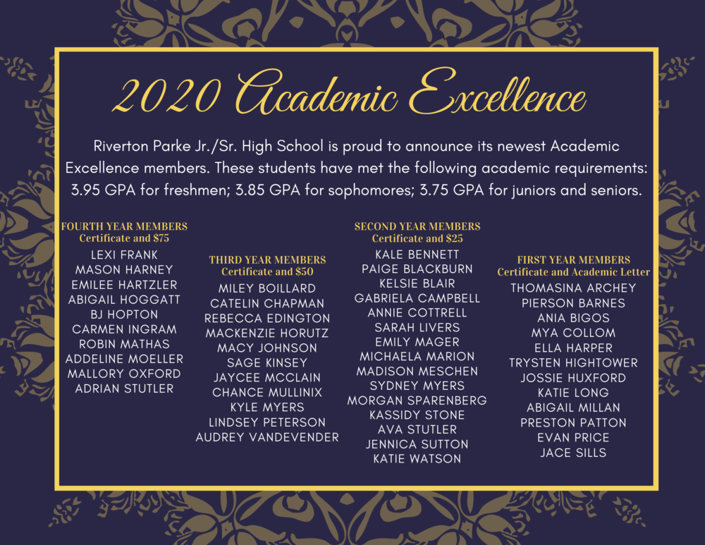 2020 Academic Excellence Members