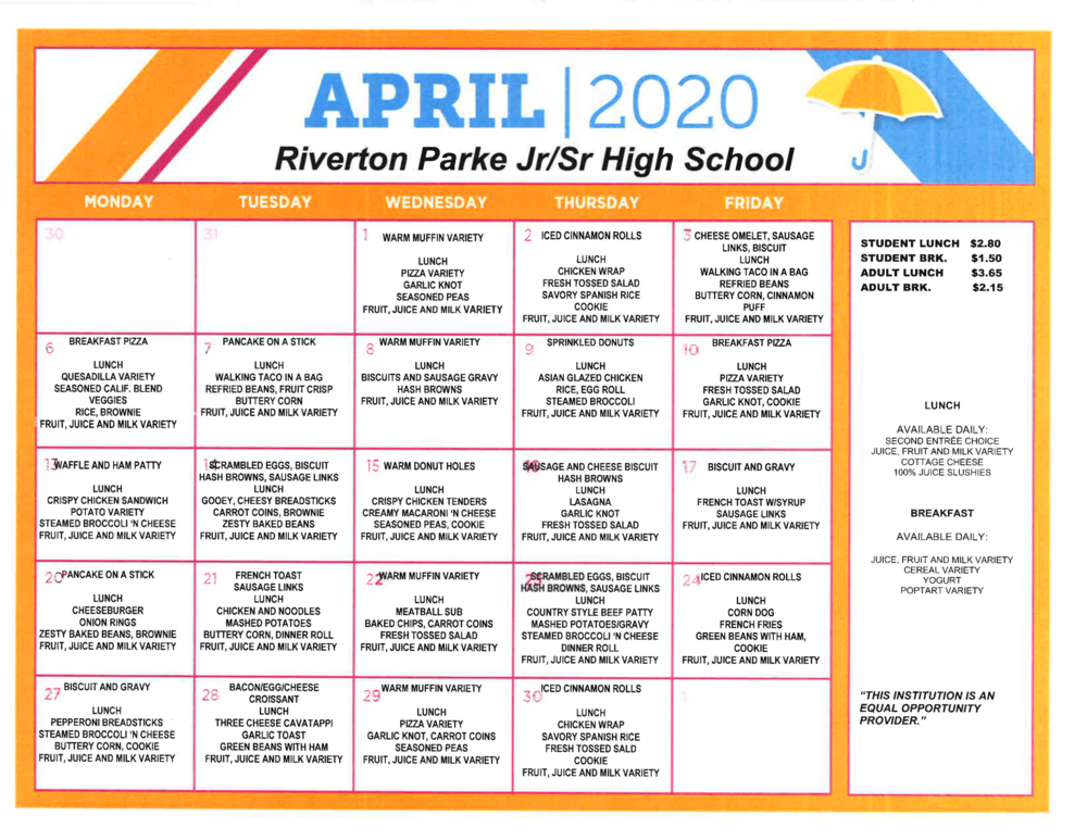 April 2020 Breakfast / Lunch Menu