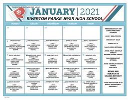 RP January 2021 Breakfast / Lunch Menu