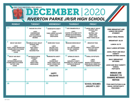 RP December 2020 Breakfast / Lunch Menu