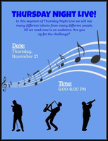 Thursday Night Live Talent Show Tomorrow!