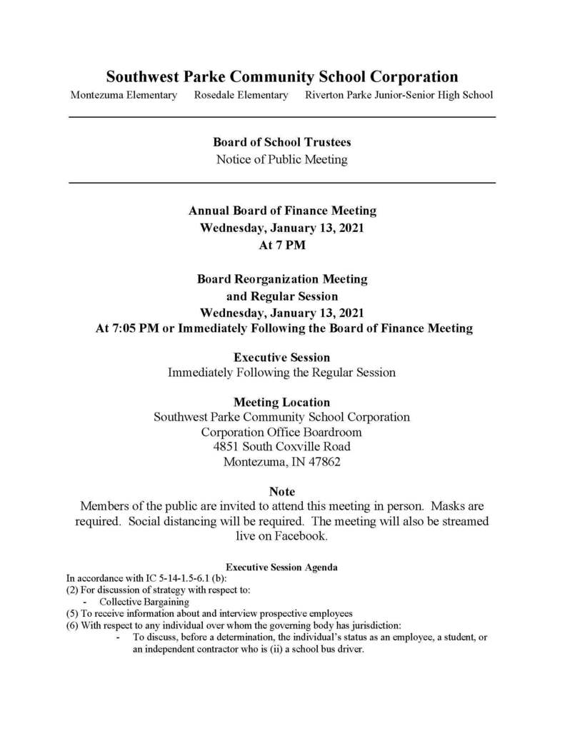 Notice of Public Meeting - SWP Board - January 13, 2021