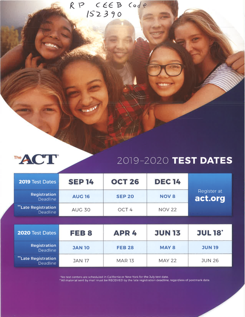 2019 ACT Testing Dates and Registration Deadlines