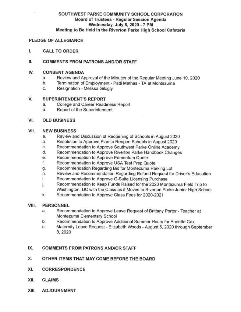 SWP Board Agenda for July 8, 2020