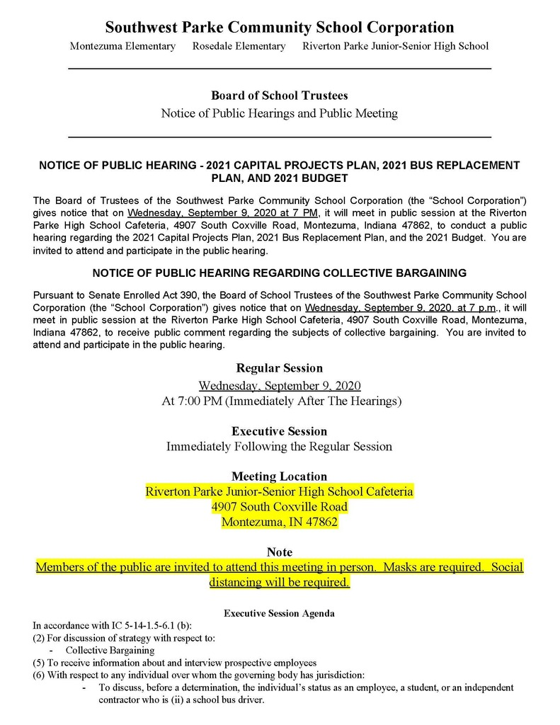 September 2020 Notice of Hearings and Public Meeting